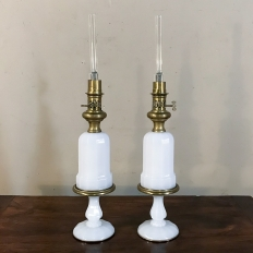 Pair 19th Century Milk Glass Oil Lantern Table Lamps