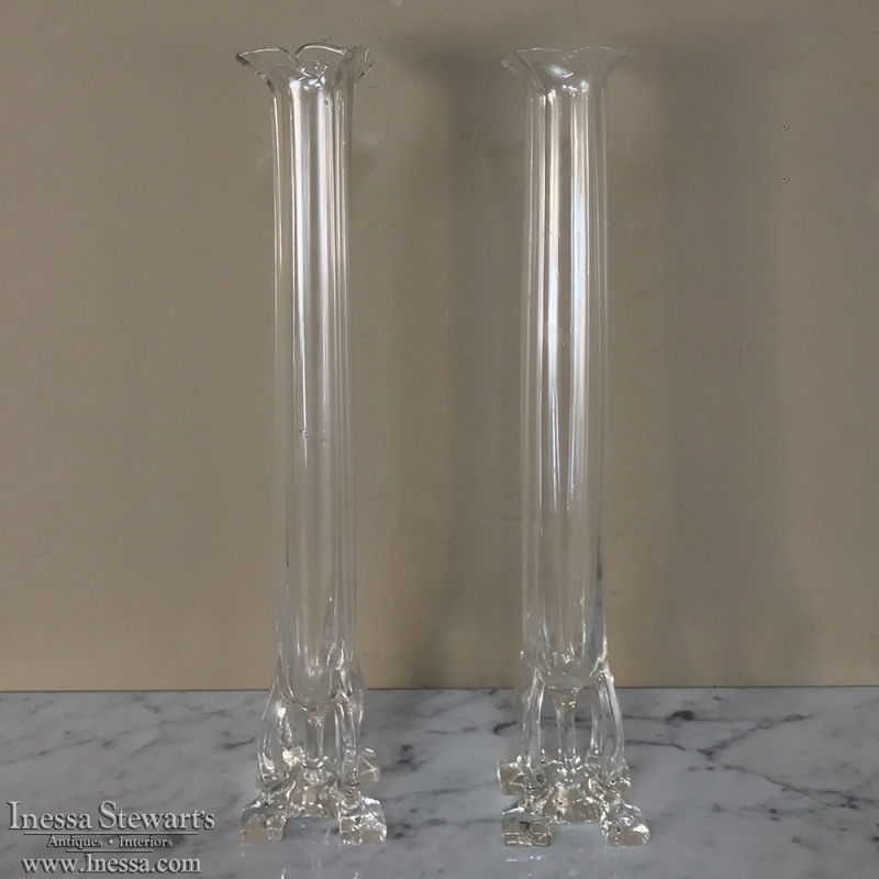 Pair Antique Glass Bud Vases