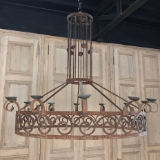 Art Deco Wrought Iron Chandelier