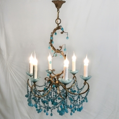 Antique Italian Rococo Brass & Turquoise Glass Chandelier