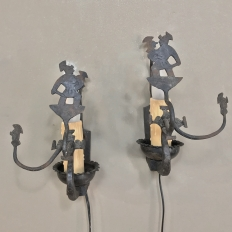 Pair Antique Rustic Country French Wall Sconces