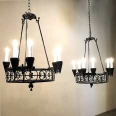 Pair Country French Wrought Iron Chandeliers