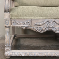 19th Century French Louis XIV Whitewashed Canape with Rams' Heads
