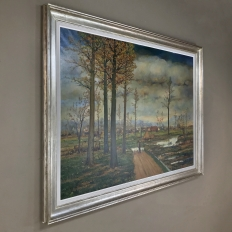 Grand Mid-Century Framed Oil Painting on Canvas by Fr. De Roover
