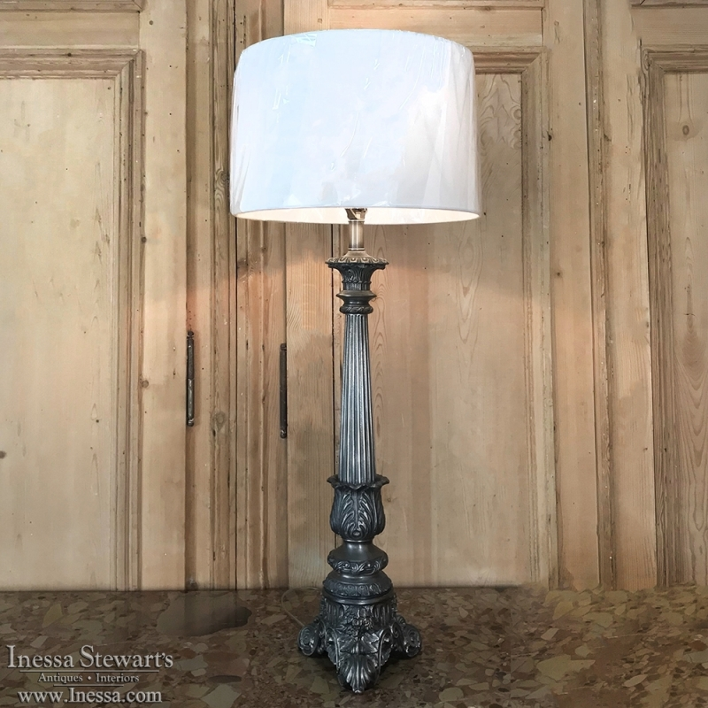 Antique Pewter Candlestick Table Lamp