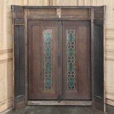 19th Century Raised Oak Panel with Stained Glass