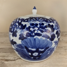 19th Century Blue & White Lidded Vase