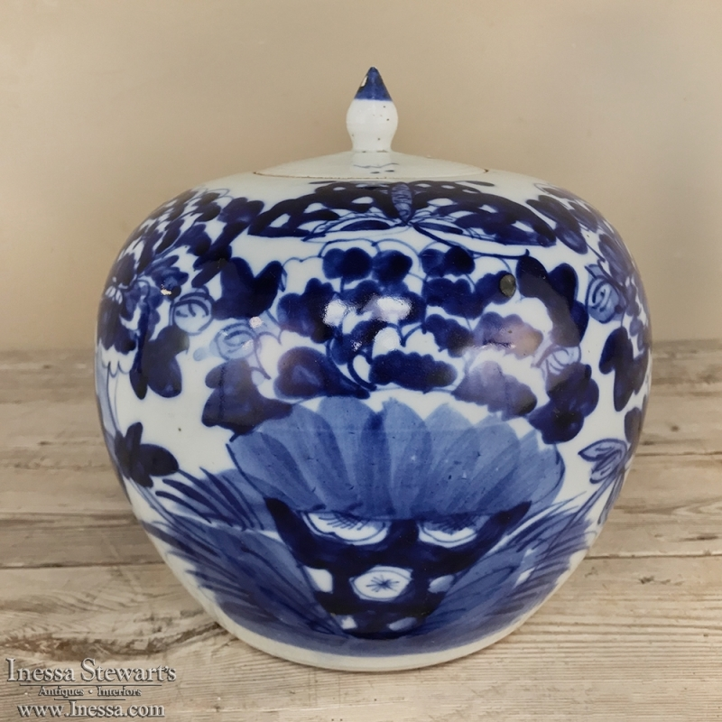 19th Century Blue & White Lidded Vase