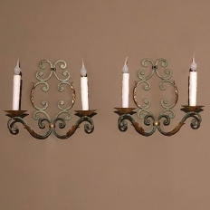 Pair Antique French Painted Wrought Iron Wall Sconces