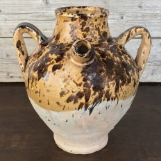 19th Century Italian Half-Glazed Earthenware Pot