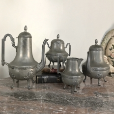 Antique French Pewter Coffee & Tea Set