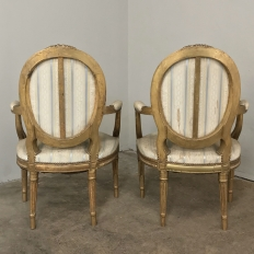 Pair 19th Century French Louis XVI Giltwood Armchairs