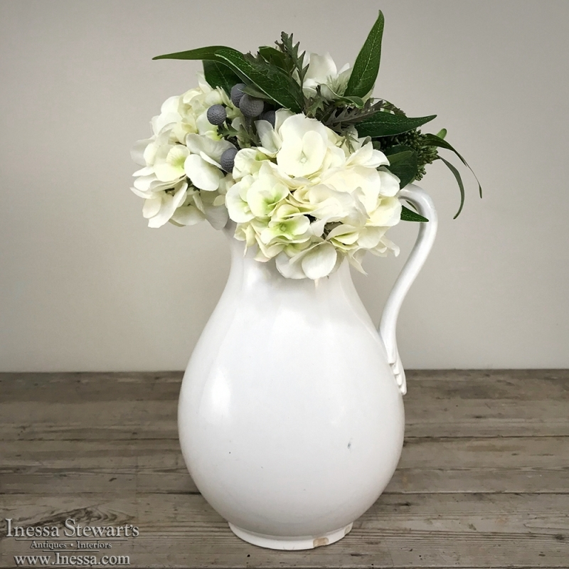Antique Boch & Freres White Pitcher