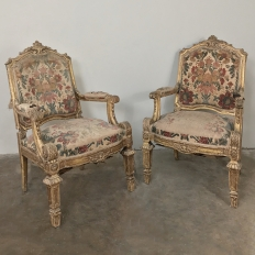 Pair 19th Century French Louis XIV Gilded Armchairs