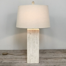 Mid-Century Travertine Table Lamp