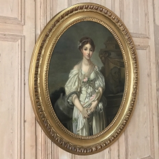 Mid-19th Century Large Framed Oval Oil Portrait on Canvas