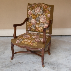 19th Century Antique French Louis XV Needlepoint Tapestry Armchair