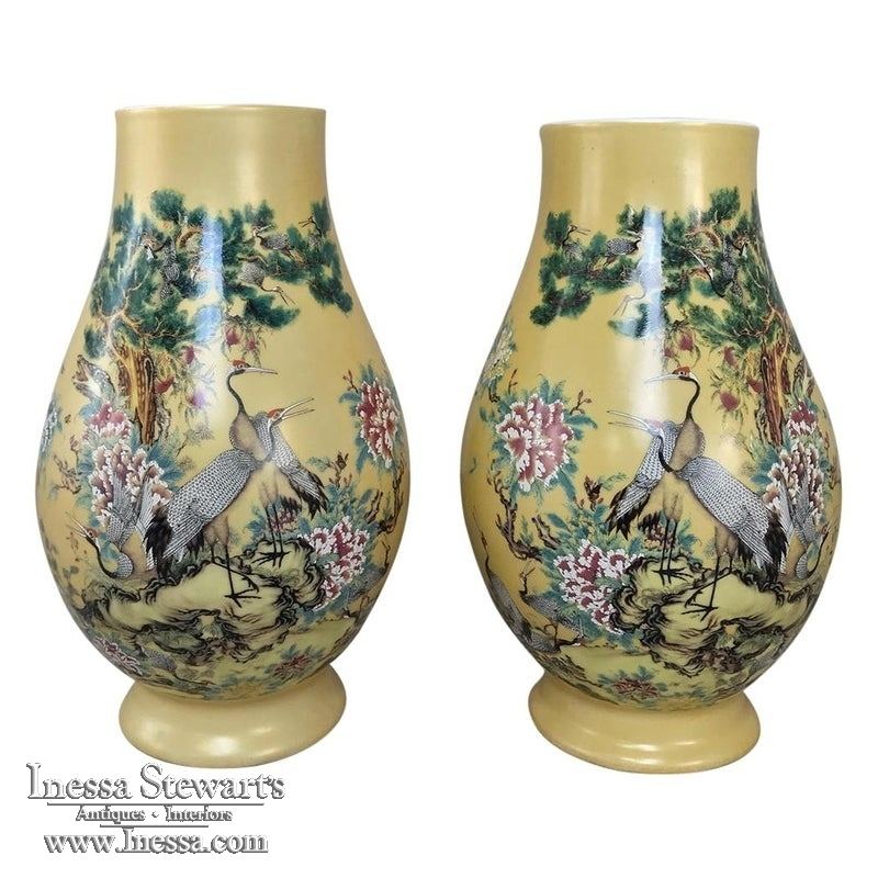 Pair Antique Hand Painted Chinese Vases