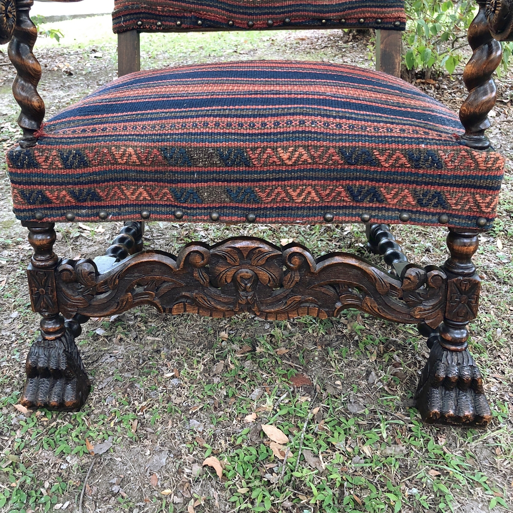Antique French Louis XIII Armchair with Kelim Upholstery