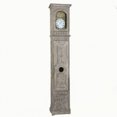 19th Century French Gothic Stripped Oak Long Case Clock