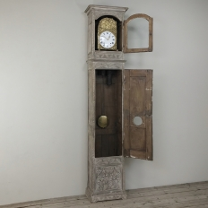 19th Century French Gothic Whitewashed Long Case Clock