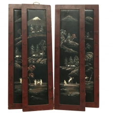 Set of Four 19th Century Hand-Painted Chinoiserie Panels