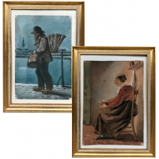 Pair Antique Framed Oil Paintings on Canvas