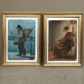 Pair Mid-Century Framed Gouache Paintings on Parchment