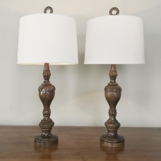 Pair Antique Turned Wood Table Lamps