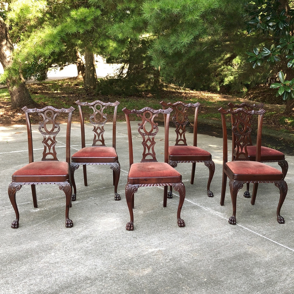 Set Of 8 Antique English Mahogany Chippendale Dining