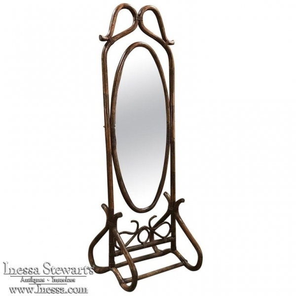 Mid-Century French Bentwood and Rattan Floor Mirror