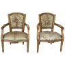 Pair of Louis XVI French Aubusson Tapestry Fruitwood Armchairs