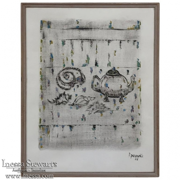 Mid-Century Modern Framed Mixed Media Artwork by Paul Permeke Signed and dated 1955