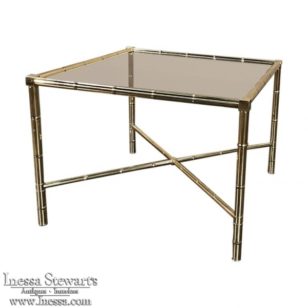 Mid Century Brass Smoked Glass Top End ~ Coffee Table
