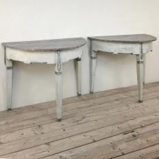 Pair 19th Century Swedish Painted Demilune Consoles