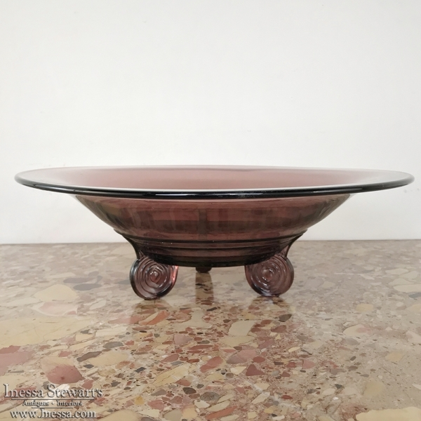 Mid-Century Hand-Blown Glass Footed Bowl