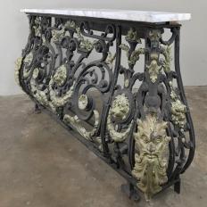Napoleon III Period Cast Iron Marble Top Console