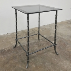 Mid-Century Brass Faux Bamboo Lamp Table