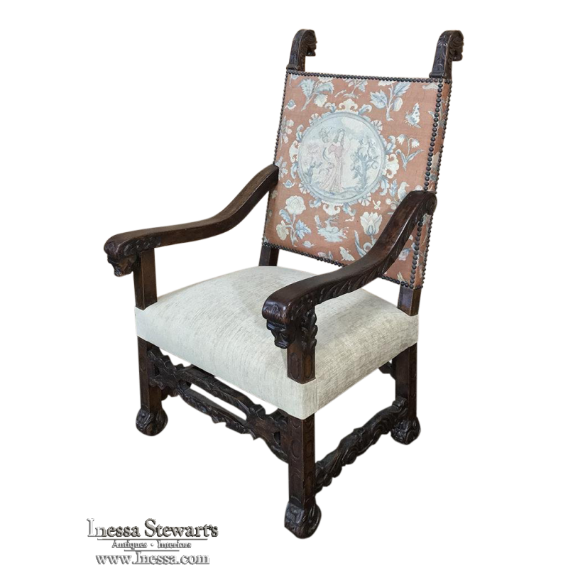 19th Century French Hand Carved Armchair with Original Tapestry
