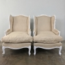 Pair Antique French Louis XV Painted Bergeres