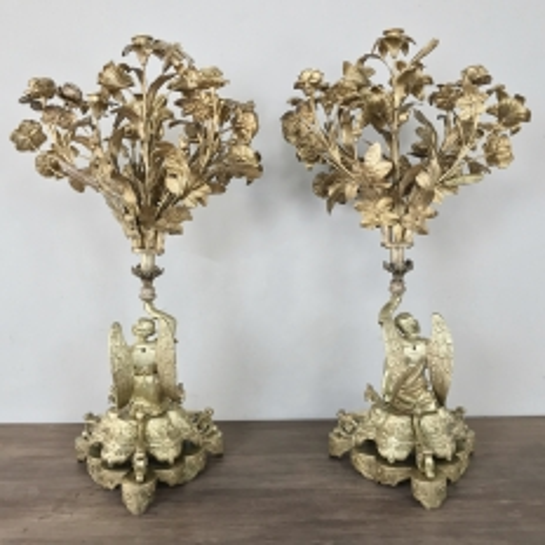 Pair 19th Century Bronze Candlesticks with Angels ~ Napoleon III Period