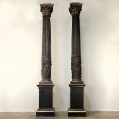 17th Century Architectural Monumental Italian Corinthian Columns on Pedestals
