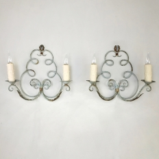 Pair Antique Painted Wrought Iron Wall Sconces