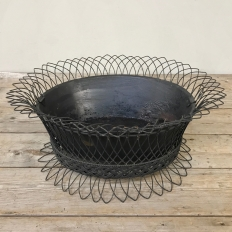 Antique French Woven Wire Jardiniere