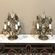 Pair Mid Century Brass & Crystal Neoclassical Girandoles ~ Sconces
