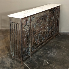 Pair 19th Century Wrought Iron Marble Top Consoles