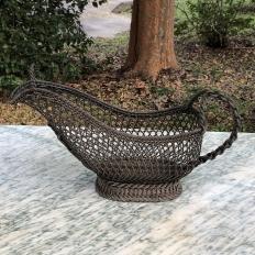 Antique Brass Wine Serving Basket