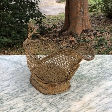 Antique Brass Wine Serving Basket