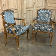 Set of 6 Antique Louis XV Dining Chairs includes 2 Armchairs