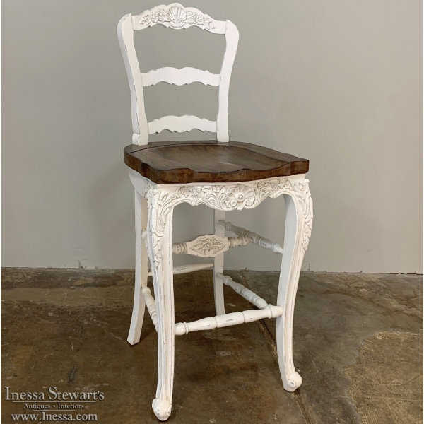 Reproduction Country French Solid Oak Bar Stool in White